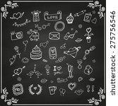 set of love doodle icon set... | Shutterstock .eps vector #275756546
