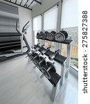 Dumbbell Rack In Modern Gym. 3...