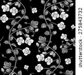 black white floral vector... | Shutterstock . vector #275843732