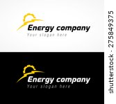 Energy company logo. Electrical or mechanic industrial company brand icon. Lightning and gears as sunrise. Electricity, bolt vector sign.