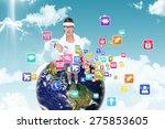 geeky hipster lifting dumbbells ... | Shutterstock . vector #275853605