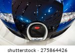 Small photo of BERLIN - MAY 02, 2015: Showroom. Supercar Bugatti Veyron EB 16.4. Fastest serial car in the world. Front view. Produced from 2005 to 2011