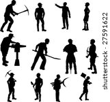 construction worker silhouettes | Shutterstock .eps vector #27591622