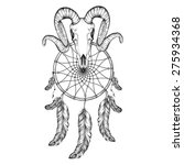 hand drawn goat skull doodle... | Shutterstock .eps vector #275934368