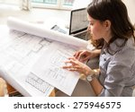 female architect working at... | Shutterstock . vector #275946575