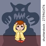 little boy and his fear. vector ... | Shutterstock .eps vector #275961476