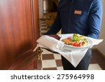 Stock photo the waiter brought breakfast in the hotel room 275964998