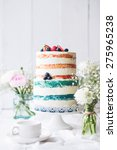 wedding rustic cake with flowers | Shutterstock . vector #275965238