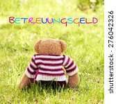 Small photo of toy - little teddy bear sitting on green grass in garden - german for child care subsidy