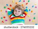 little blond toddler child... | Shutterstock . vector #276055232