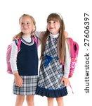 happy schoolgirls isolated on a ... | Shutterstock . vector #27606397