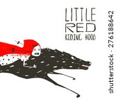 Little Red Riding Hood On Blac...