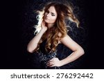 beautiful girl  with long brown ... | Shutterstock . vector #276292442