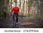 man riding mountain bike...   Shutterstock . vector #276299366