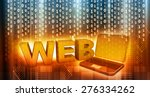 word web with laptop on binary... | Shutterstock . vector #276334262