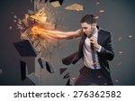 an angry businessman hitting... | Shutterstock . vector #276362582