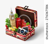 opened box with british flag... | Shutterstock . vector #276367586