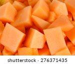 Close Up Slice Of Fresh Melon.
