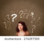 teenage girl with question mark ... | Shutterstock . vector #276397505