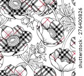 seamless pattern with checkered ... | Shutterstock .eps vector #276400826