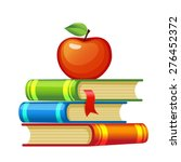 red apple on a pile of books | Shutterstock .eps vector #276452372