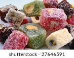 Turkish delight at a white background - stock photo