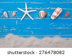 white sand star fish and shells ... | Shutterstock . vector #276478082