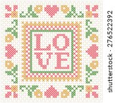 embroidered stitch frame with... | Shutterstock .eps vector #276522392