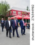 Small photo of Taron Margaryan Andranikovich, Mayor of the City of Yerevan, walks in the park May 9 Victory 2015