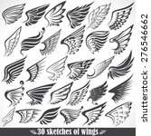 big set sketches of wings | Shutterstock .eps vector #276546662