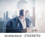 double exposure of young... | Shutterstock . vector #276558752
