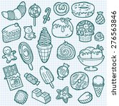 cute sweets icons. vector... | Shutterstock .eps vector #276563846