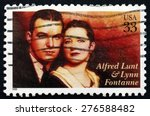 Small photo of USA - CIRCA 1999: a stamp printed in the USA shows Alfred Lunt and Lynn Fontanne, Actors, circa 1999