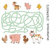maze game  farm animals ... | Shutterstock .eps vector #276590372