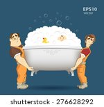 two loaders movers holding and... | Shutterstock .eps vector #276628292