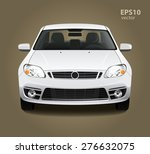 Stock vector new modern clean shine white car front side view vector realistic hd d color illustration photo 276632075