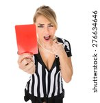 young female referee holding...   Shutterstock . vector #276634646