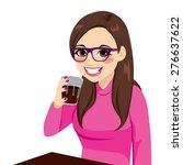 beautiful brunette young woman... | Shutterstock .eps vector #276637622