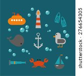 sea vector icon flat set | Shutterstock .eps vector #276654305