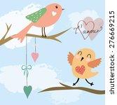 lovely bird singing on the tree ... | Shutterstock .eps vector #276669215
