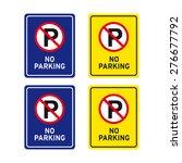 No Parking Sign Vector Set