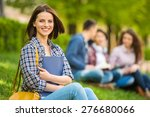 young beautiful smiling student ... | Shutterstock . vector #276680066