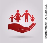 hand holding a symbol of family.... | Shutterstock .eps vector #276686666