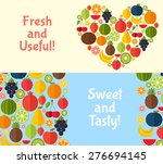 fruits banners in flat style.... | Shutterstock .eps vector #276694145