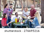 cheerful group of friends... | Shutterstock . vector #276695216
