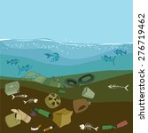water pollution in the ocean.... | Shutterstock .eps vector #276719462
