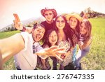best friends taking selfie at... | Shutterstock . vector #276747335