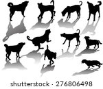Stock vector illustration with dog silhouettes isolated on white background 276806498