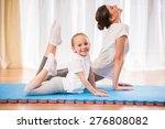 little pretty girl doing yoga... | Shutterstock . vector #276808082