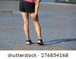 woman runner hold her sports... | Shutterstock . vector #276854168